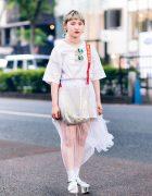 All White Harajuku Streetwear Style w/ Twin Blonde Tails, Tattoo Choker, X-Girl Shirt, Sheer Maxi Skirt, WC, Oh Pearl Sling & WEGO Metallic Sandals