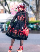 Japanese Idol in Harajuku Gothic Lolita Style w/ JoJo's Bizarre Adventure Necklace, Innocent World Dress, Heart Bag & Vivienne Westwood Rocking Horse Shoes