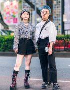 Japanese Teens' Casual Monochrome Styles w/ Goggles, Second Street Leopard Blouse, Yosuke Purple Boots, John Lawrence Sullivan Shirt, Nodress High Waist Pants, Bigotre Bag, WEGO, Gallerie & Eytys Studded Shoes