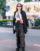 Tokyo Style w/ Red Sunglasses, Black Coat, Printed Shirt, Never Mind the XU, Alpen 1200 Sling Bag & Never Mind the XU Platforms
