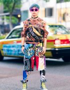 Graphic Tokyo Streetwear Style w/ Teal Hair, Cutout Top, Patchwork Shorts, Print Tights, Cote Mer Bag & Denim Sneakers