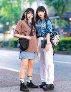 Japanese Girls Casual Styles w/ Twin Tails, Kinji Lip Print Shirt, Tie Dye Shirt, (ME) Harajuku Sling, Dolls Kill Yin-Yang Backpack & Converse Sneakers