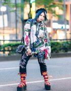 Japanese Pop Idol, Model & Cosplayer in Graphic Streetwear w/ Teal Hair, Hellcat Punks Beret, Tokyo Punkidz, H.Naoto & Vivienne Westwood x Buffalo Printed Platform Boots