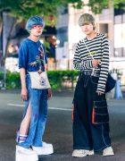 Japanese Street Fashion w/ Tie Dye Shirt, Mouse Slit Patchwork Jeans, Precious Junk Sling, Paul Smith Striped Sweatshirt, Wide Leg Jeans, Eytys & Nike Platform Sneakers