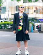Tokyo Style w/ Two-Tone Hair, Paul Smith, Jun Inagawa x BiSH, Comme des Garcons, Murakami Flower Bag, Vaquera Whistle Necklace & Nike x Martine Rose Sneakers