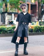 All Black Tokyo Street Style w/ Ash Hair, Kawi Jamele High Low Shirt, Zara Faux Leather Shorts, H&M, Gallerie & Yosuke Lace-Up Boots