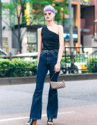 Japanese Fashion Model in Harajuku w/ Lavender Pixie Cut, UN3D Off Shoulder Top, Ungrid Jeans, Otope, Gucci & Rosebud Wedge Sandals