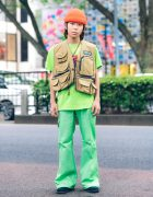 Harajuku Teen's Street Style w/ Orange Beanie, Utility Vest, Black Eye Patch, Flared Pants & Hawkins Suede Shoes