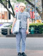 Cinema and Boy CQ Idol's Harajuku Street Style w/ Merry Jenny Gingham Ruffle Shirt & Ruffle Pants, Rurumu Tote Bag & Lace-Up Shoes
