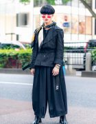 All Black Menswear Street Style w/ Blunt Bob, Red Sunglasses, Y's Red Label Belted Jacket, Zara, Notch Wide Leg Pants, Florida, Y-3, SAAD Silver & Bella By Bella Tabi Boots