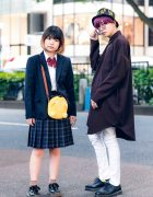 Japanese Street Styles w/ Purple Hair, Bucket Hat, School Uniform, Pokemon Psyduck Bag, GGD Shirt, Skinny Pants & Dr. Martens