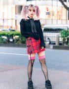Heiligtum Remake Fashion Designer's Streetwear Look w/ Twin Tails, Zipper Bow Necklace, Jimsin Off-The-Shoulder Top, Plaid Skirt, Fishnet Socks & Underground Platform Creepers