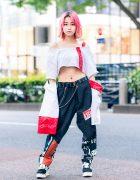 Tokyo Girl Streetwear Style w/ Pink Hair, Crop Top & Cote Mer Graphic Print Pants