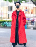Red & Black Menswear Street Fashion w/ Black Mask, Burberry Trench Coat, Hare, Notch Wide Leg Pants, SAAD Necklaces & Bella By Bella Tabi Boots