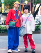 Japanese Couple's Colorful Street Styles w/ Kangol Hat, Nincompoop Capacity, Cross Colours, Tokyo Bopper Mismatched Sneakers, United Colors of Benetton Bag, Ripped Pants & Denim Tote