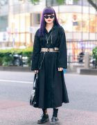 Purple Hair & Monochrome Tokyo Street Style w/ Jouetie, Focus & ME Harajuku