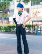 Japanese Menswear Style w/ Blue Hair, Hajime Sorayama x Kawi Jamele T-Shirt, Focus Flared Pants, Louis Vuitton & Bershka