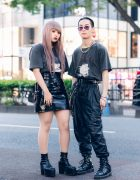 All Black Harajuku Duo Street Styles w/ Ombre Pink Hair, AZS Tokyo Graphic Print Shirts, Pleather Skirt & Pants, Nacht, Emoda Platforms & Dr. Martens Boots