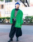 Harajuku Mens Street Style w/ Blue Hair, YoiKadakada Oversized Blazer, Open The Door, Balloon Pants, Clear Bag & Random Identities Boots