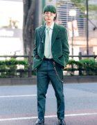 All Green Menswear Street Fashion in Harajuku w/ Ombre Green Hair, Sears Corduroy Blazer, Allege Mint Shirt, Polka Dot Necktie, TTT_MSW Pants, San To Nibun No Ichi & Eytys Boots