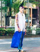 Mohawk Hairstyle in Harajuku w/ Sleeveless Dress, Heiligtum Sweatshirt, Fishnets & Vivienne Westwood Rocking Horse Shoes