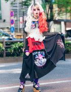 Heiligtum Fashion Designer in Harajuku w/ Two-Tone Makeup, Twin Tails, Ruffle Corset, Remake Patchwork Skirt, Fishnets & Vivienne Westwood Rocking Horse Shoes