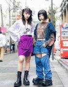 Japanese Girls Harajuku Street Styles w/ Purple Bangs, MYOB NYC, ESC Studio, Kinji Cutout Jeans, Faith Tokyo, Harley Davidson & Demonia