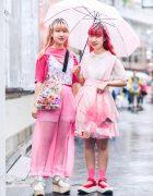Japanese Twins in Kawaii Pink Harajuku Street Styles w/ Handmade Items, Vintage Fashion & Tokyo Bopper Shoes