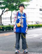 Eclectic Tokyo Street Style w/ Sports Jersey, H&M Floral Shirt, Remake Pinstripe Pants, Spider-Man Backpack, Winnie the Pooh Sling & Puma Sneakers