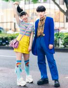 Japanese Teens Street Styles w/ Butterfly Shirt, Pleather Skirt, Blue Suede Blazer, Candy Stripper, WC, Peco Club & Demonia