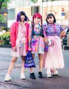Kawaii Harajuku Street Styles w/ Colorful Hair, PUNYUS, Kobinai, ACDC Rag Powerpuff Girls, Uchu Hyakka, Disney Princess Backpack & Platform Sneakers
