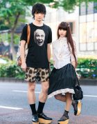 Vivienne Westwood Street Styles in Harajuku w/ Jeweled Devil Horns, World's End Face Shirt, Hoop Skirt, Cheetah Shorts, Comic Print Tote & Rocking Horse Shoes