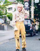 Cat Street Harajuku Style w/ Pink Hair, Window00 Paisley Ruffle Shirt, Windows00 Cutout Bow Pants & Suede Sneakers