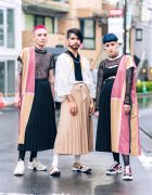 Chilean Designer Cris Miranda Street Styles in Tokyo w/ Pink & Blue Hair, Half-Robes, Remake Fashion, Pleated Maxi Skirts, Barbwire Necklace & Tabi Sneakers