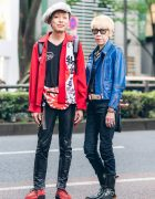 Japanese Savoy Styles w/ Beret, Kanji Print Jacket, 666 Faux Leather Moto Jacket, Neon, Rising Sun Waist Bag, Love Kills Boots & Tuk Creepers