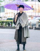 Japanese Kimono Street Style w/ Purple Wagasa, Layered Kimono, Lui's Cropped Jumpsuit & Adidas Sock Shoes