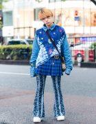 Florida Harajuku Shop Staff's Multi-Print Street Style w/ Galaxy Print Denim Sweater, Plaid Skirt, Paisley Print Flared Pants, Gucci Sling Bag & Z-Coil Sneakers