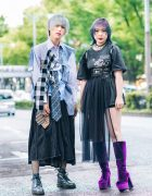 Tokyo Teens Streetwear Fashion w/ Ash Grey Hair, Ombre Hair, Fishnets, Handmade Shirt w/ 3 Ties, Jouetie, Gallerie, Sheer Skirt Panel, ME Harajuku Belted Waist Harness, Dr. Martens & OK Kiko Knee-High Boots