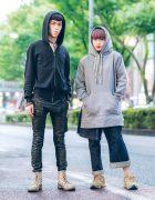 Japanese Hoodie Fashion w/ Jil Sander, Rick Owens DRKSHDW Leather Pants, Phenomenon Layered Denim Pants, Raf Simons x Adidas & Mihara Yasuhiro Distressed Boots