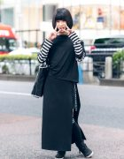Black & White Harajuku Menhera Fashion w/ Menhera-Chan Badges, Listen Flavor, Cutout Top & High Top Sneakers