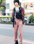 Vintage Printed Jacket, Floral Shirt, Dior Cuffed Pants, Christopher Nemeth Furry Bag & Maison Margiela Tabi Boots