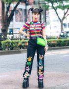 Rainbow Top & Embroidered Pokemon Pants in Harajuku w/ UNIF, O-Mighty, NaNa-NaNa & Demonia