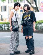 Japanese Teens Street Styles w/ Headband, Metallica Sleeveless Shirt, Leopard Print Pants, Garfield T-Shirt, Roll Deep Cut-Off Pants, DYOG & Demonia