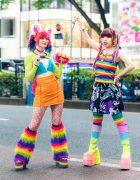Tokyo Rainbow Streetwear Styles w/ Furry Ears, Rainbow Hair Falls, Furry Bralette, Kol Me Baby Skirt, Kobinai, Powerpuff Girls Skirt, Sexy Dynamite London, ACDC Rag, YRU, Takuya Angel Furry Claw & Demonia