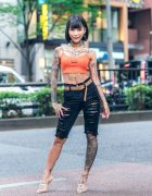Japanese Hair/Makeup Artist & Model in Harajuku w/ Tattoos, Crop Top, Top Secret Shorts & Yello Stilettos