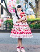 Baby, The Stars Shine Bright Harajuku Lolita Fashion w/ Berry Print Dress, Teddy Bear, Plush Toy Backpack, Ribbons & Pink Heeled Shoes