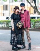 Harajuku Duo Streetwear Fashion w/ Black Cap, Satin Shirt, Shirt Dress, Monochrome Print Tights, Brocade Pants, Vivienne Westwood Anglomania Bag, Dr. Martens & Tokyo Bopper Ankle Wrap Shoes
