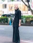 Japanese Model & Musician in All Black Style w/ Kujaku, Loake, Vivienne Westwood & Vintage Fashion