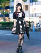 Harajuku Girl Street Fashion w/ Pink Hair Tips, Parasol, Sinz Bow Blouse, Bodyline Belted Skirt & Demonia Caged Platforms