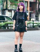 Harajuku Streetwear w/ Purple Hair, UNIQLO x Street Fighter Shirt, Romantic Standard Pleated Skirt, Burlesque Harness Bag & Yosuke Chunky Shoes